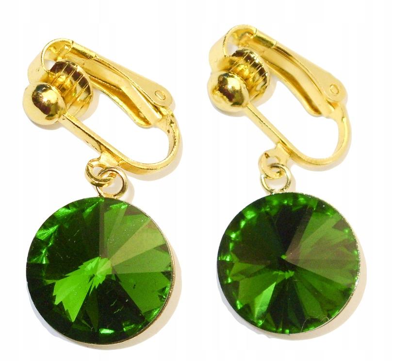 Klipsy kryształy rivoli 14mm fern green, złote