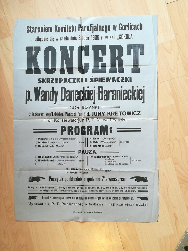 """KONCERT Sala """"Sokoła"""" Gorice 1935 r"""