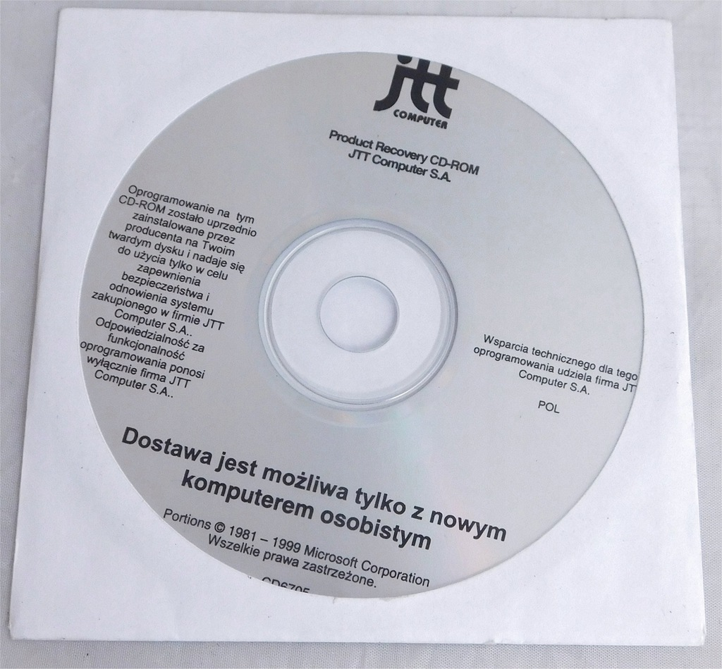 Nośnik CD Windows 98 JTT recovery