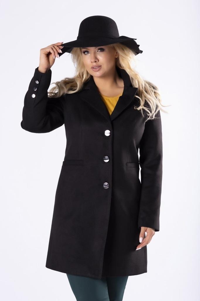 Klasyczny płaszcz jednorzędowy Czarny 36