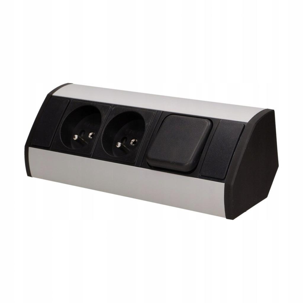 Gniazdo meblowe 2x2P+Z z wyłącznikiem, czarno-sreb