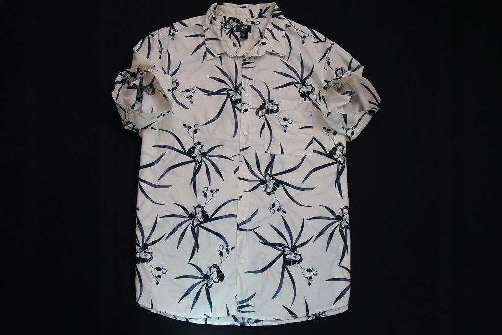 H&M koszula ecru kwiaty hawajska wzór modna_XL