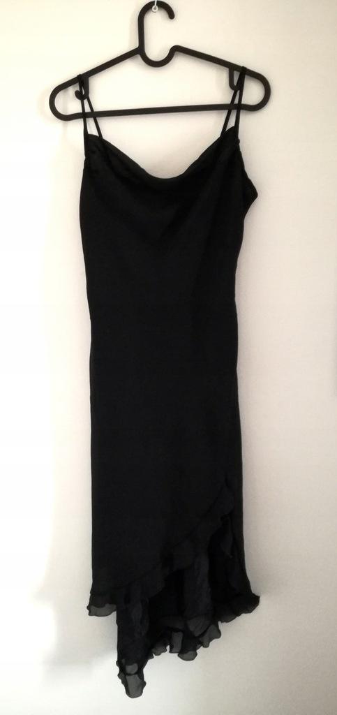 Czarna nylonowa sukienka z falbanką Topshop