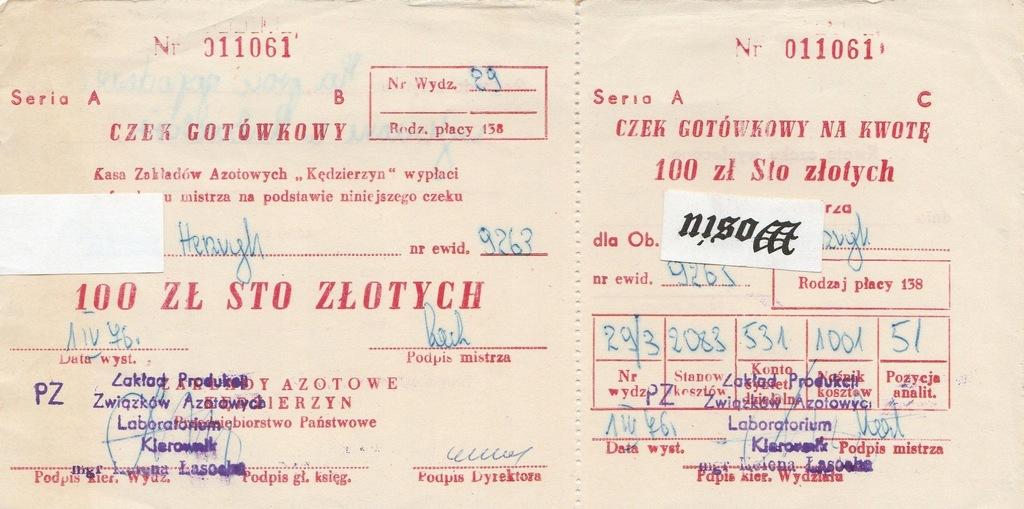 CZEK GOTÓWKOWY - ZA. KĘDZIERZYN - 1976r