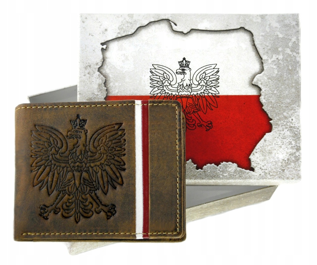 Portfel męski skórzany patriotyczny N4A H brązowy Brąz