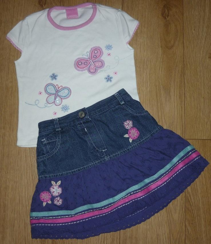 Spódniczka jeansowa + bluzka Cherokee 2 -3 lata