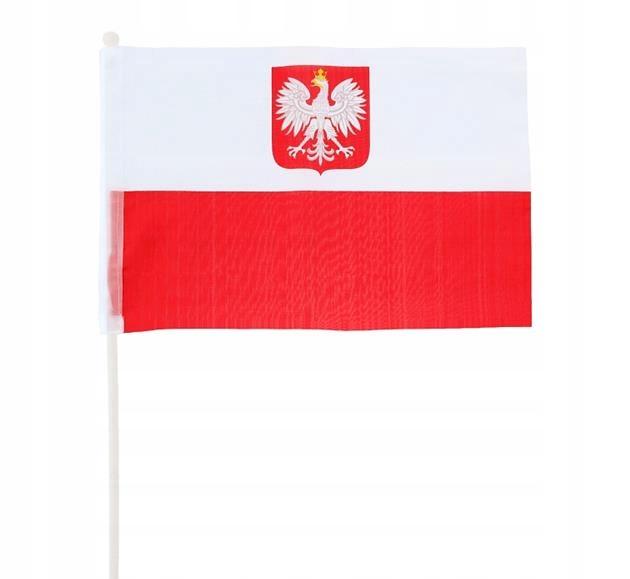 FLAGA POLSKI NA PATYKU KIBICA BIAŁO-CZERWONA