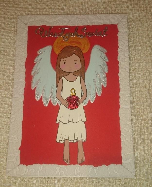 Kartka świąteczna - aniołek