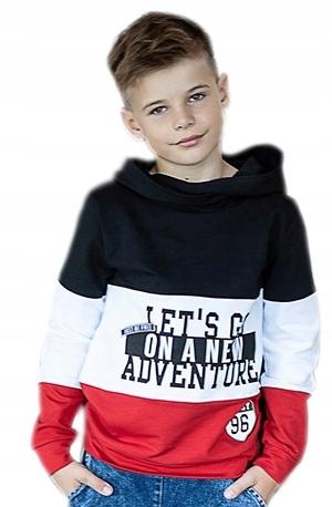 ALL FOR KIDS - BLUZA KANGURKA PASY NAPISY 152/158