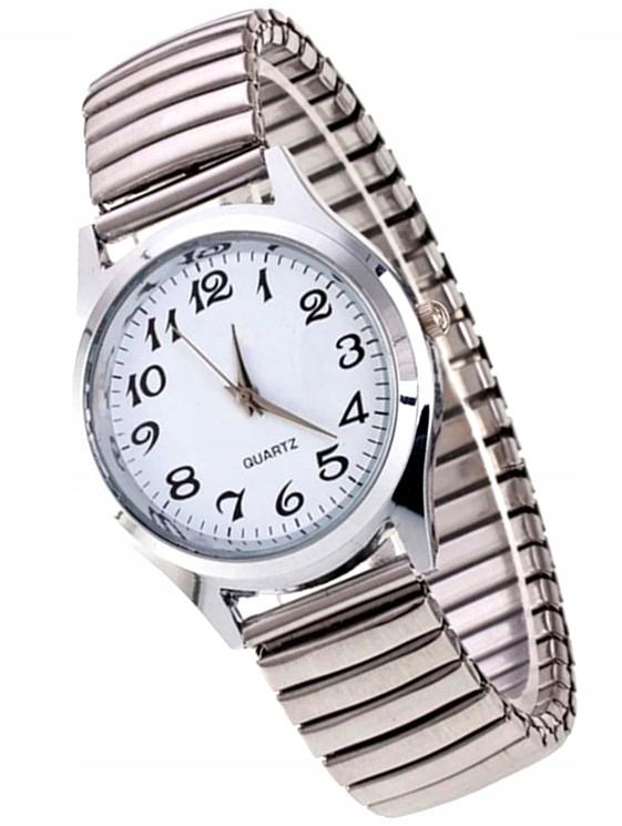 Zegarek damski bransoleta elastyczna MESH Srebrny