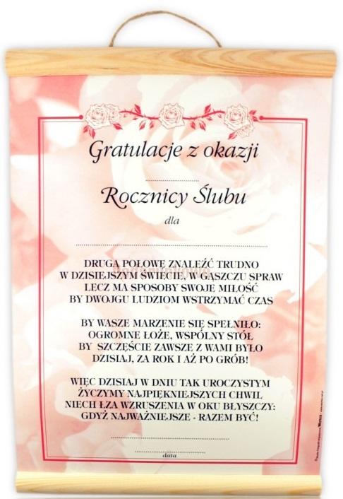 Dyplom Pamiątka życzenia Rocznica ślubu Jubileusz