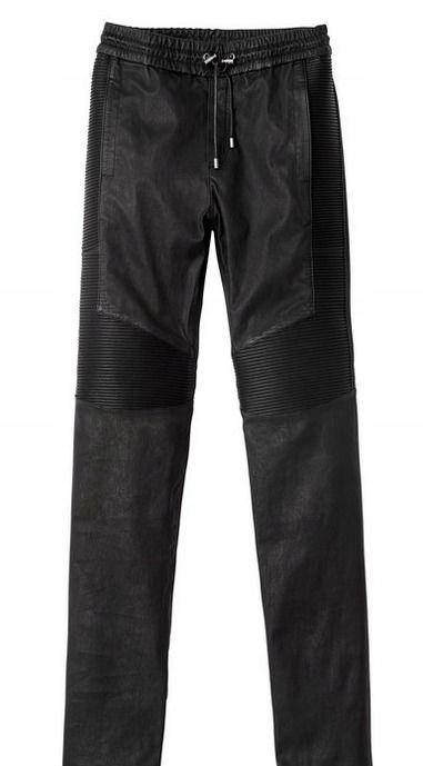 Balmain biker joggers spodnie skóra naturalna XS S