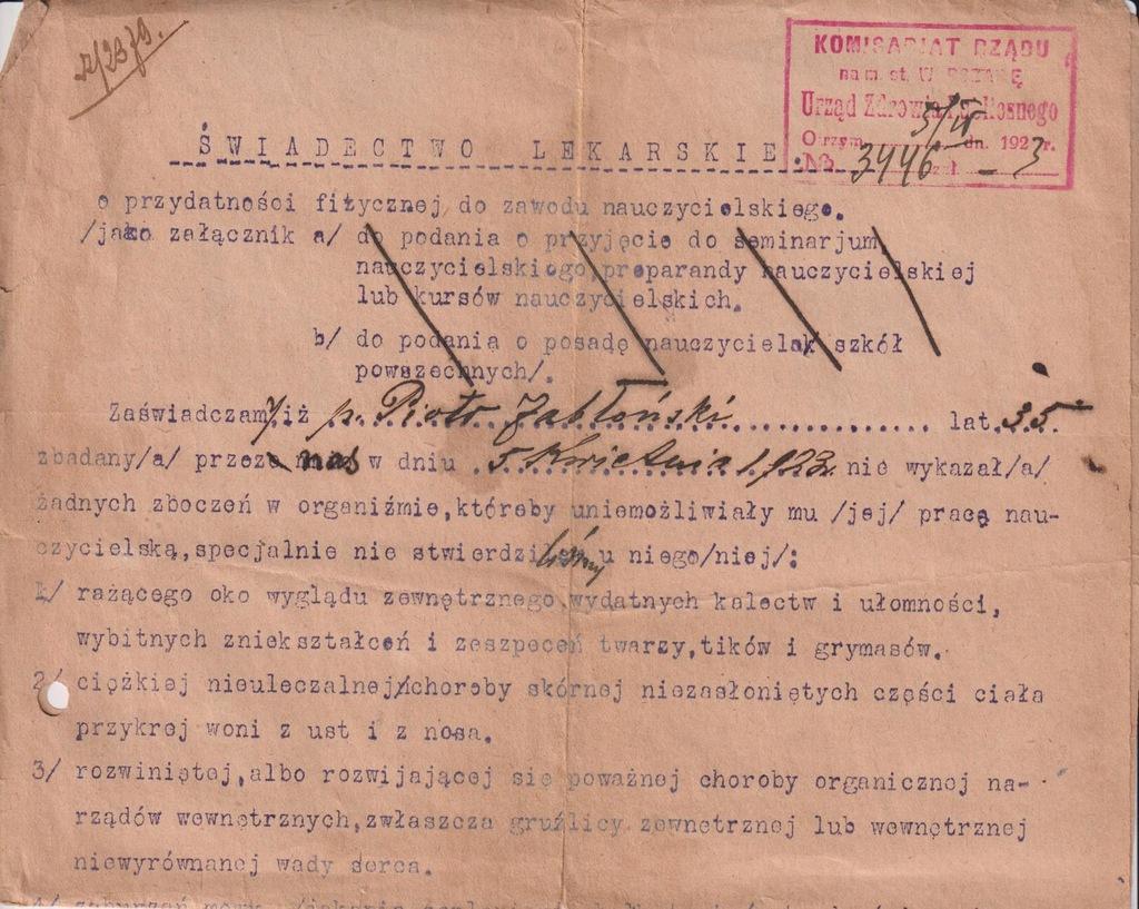 ŚWIADECTWO LEKARSKIE NAUCZYCIELA WARSZAWA 1923
