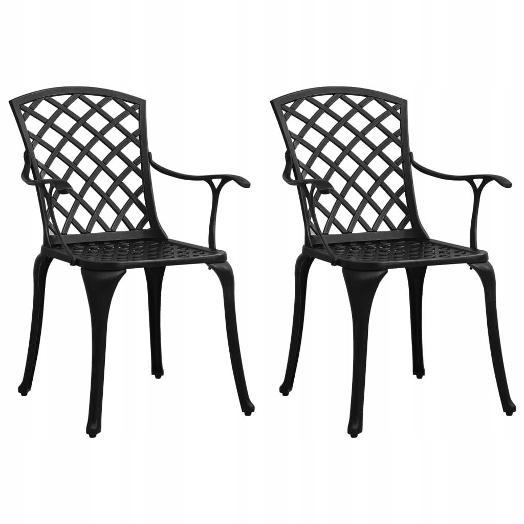 Krzesła ogrodowe 2 szt., odlewane aluminium, czarn