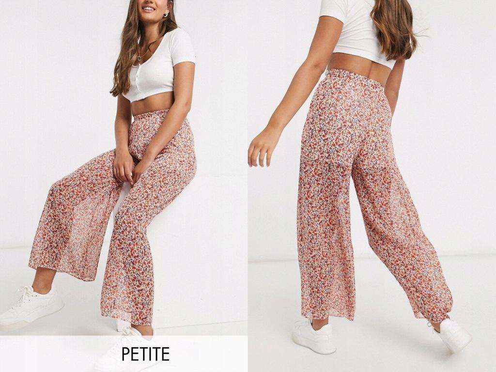 New Look Petite Szyfonowe spodnie w kwiaty XL/42