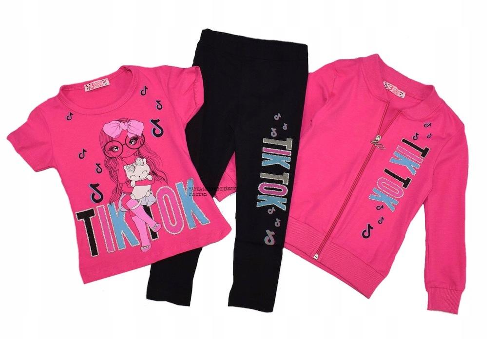 Komplet bluza t-shirt getry tik tok różowy 110