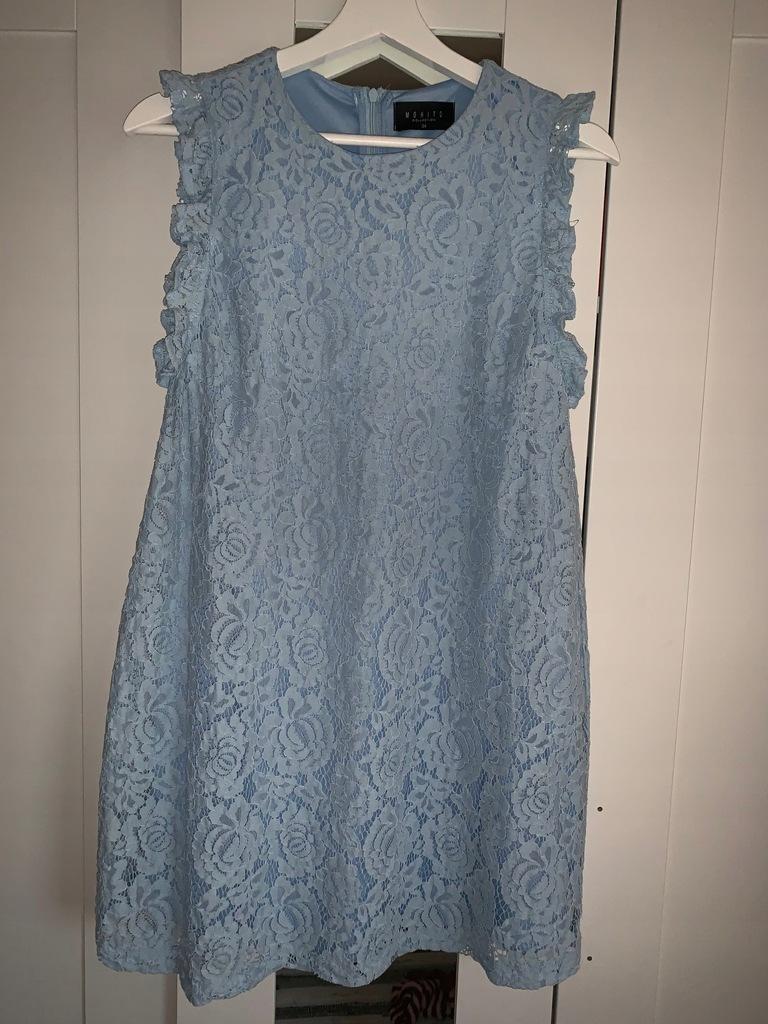 Błekitna koronkowa sukienka MOHITO 34 XS