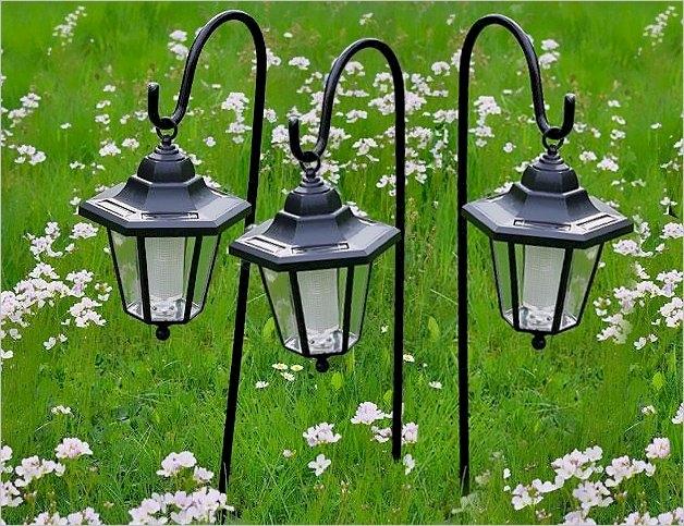 Lampy solarne LED, 3 sztuki w kształcie latarni