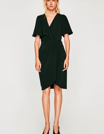 ciemno zielona sukienka w kropki zara
