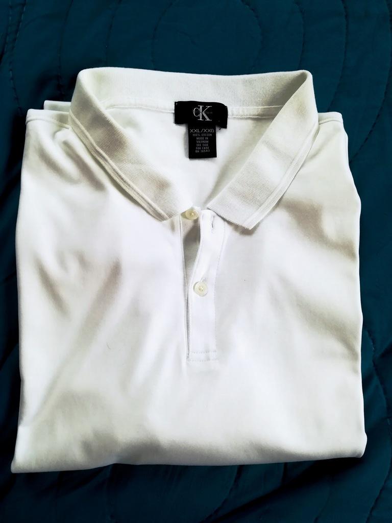 koszulka polo Calvin Kiein XXL, biała, elegancka