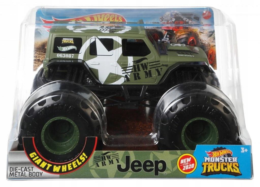 Hot Wheels Pojazd Monster Truck wojskowy jeep