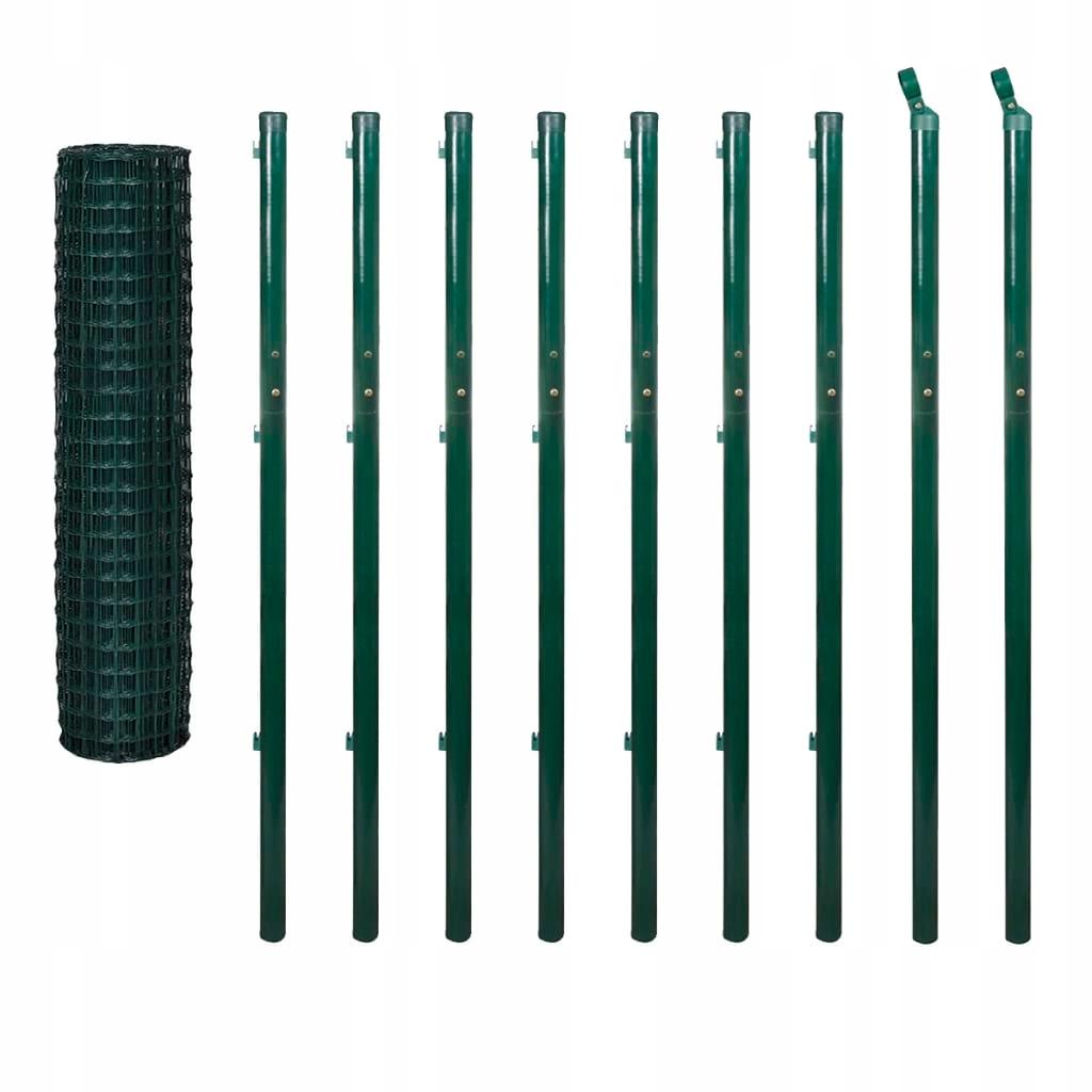 Euro ogrodzenie,słupki, 10x1,96 m,zielone, stal