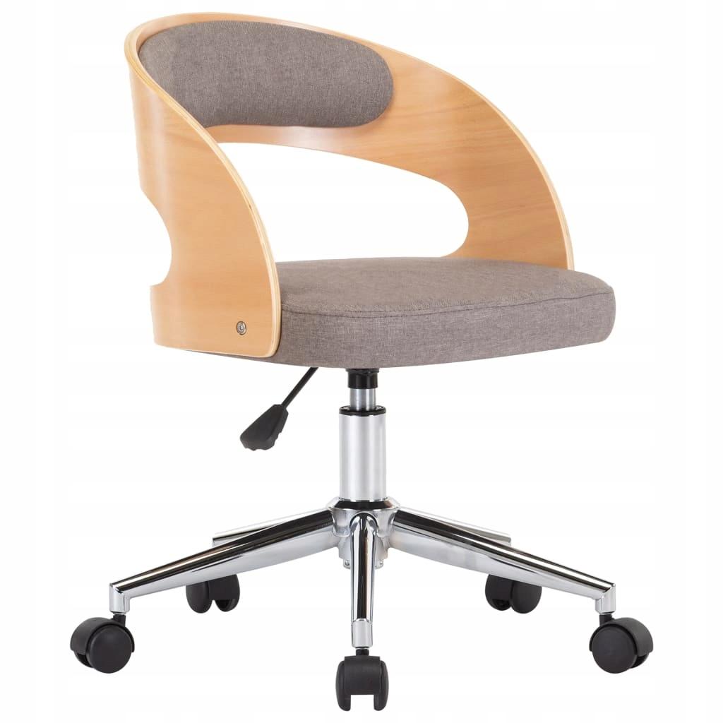 Obrotowe krzesło biurowe, taupe, gięte drewno i tk