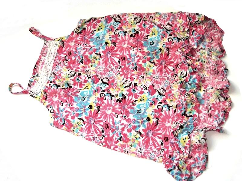 CHEROKEE tunika topik kolorowe kwiatki koronka 140