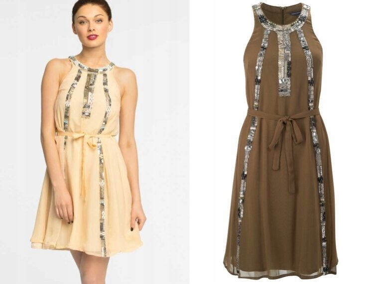 FRENCH CONNECTION Jasna sukienka z paskiem 36