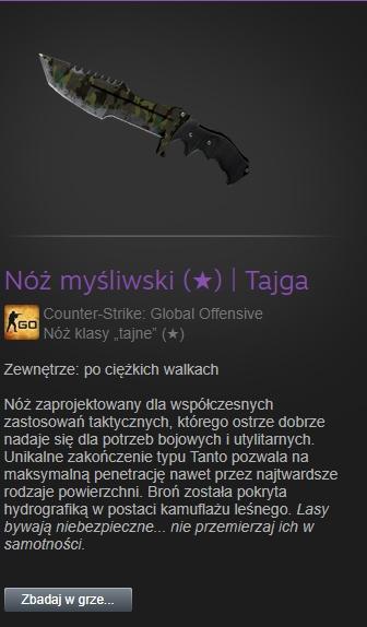 Kosa/Nóż myśliwski Tajga skin cs go