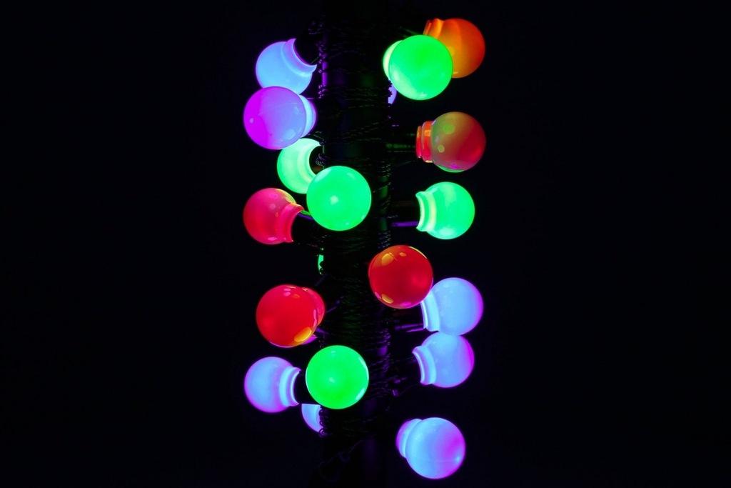 Lampki ogrodowe 20 LED, żarówki kolorowe