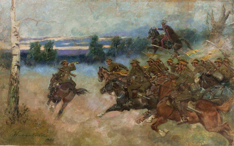 80x50 cm Wojciech Kossak Szarża kawalerii obraz