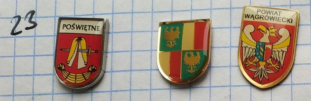 Zestaw odznak 23 Herb Powiat gmina mix heraldyka