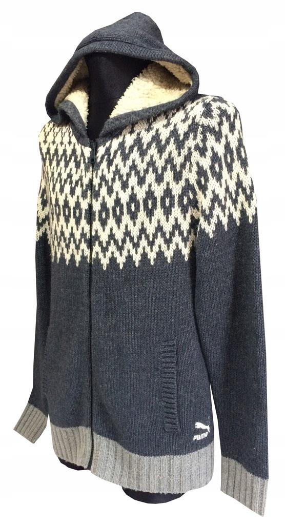 Gruby sweter męski z wełną kapturem rozpin PUMA L