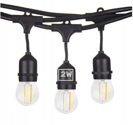 Girlanda Ogrodowa 30m +żarówki LED 2W E27 ⌀4,5cm