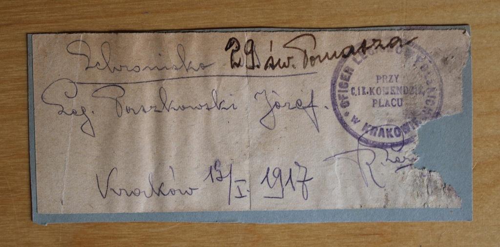 1917 Oficer Legionów Polskich w Krakowie – stempel