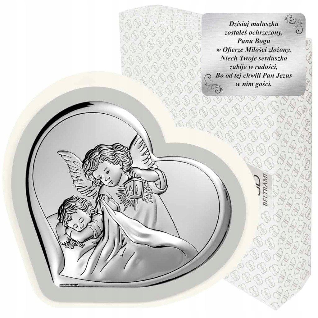 Obrazek srebrny Aniołek z latarenką Prezent Gift