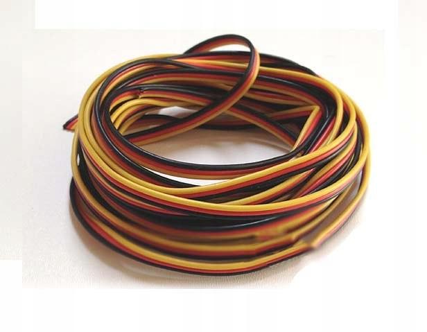 Przewód serwa trójżyłowy 3 x 0,13 mm/1 mb płaski (