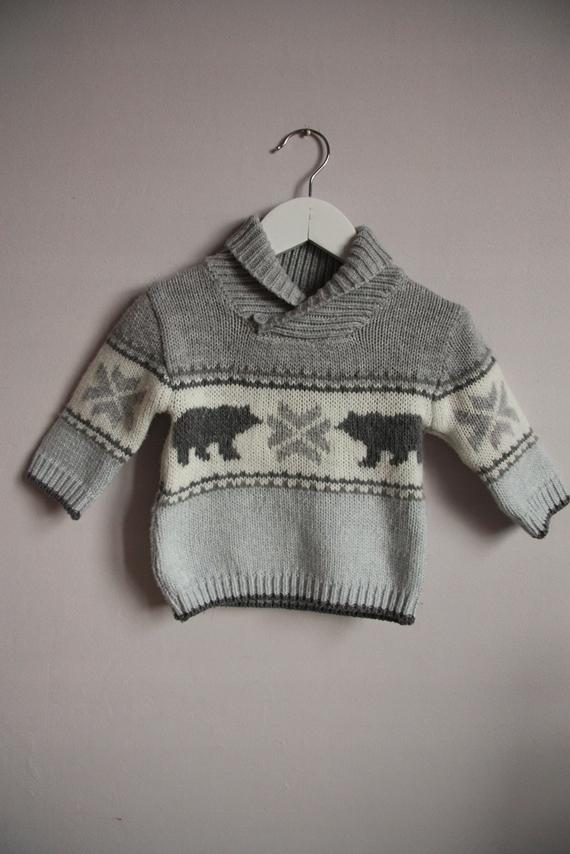 George sweterek szary błękitny norweski misie 68