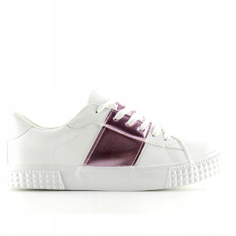 Trampki damskie biało różowe M896 WHITEPIN r.37