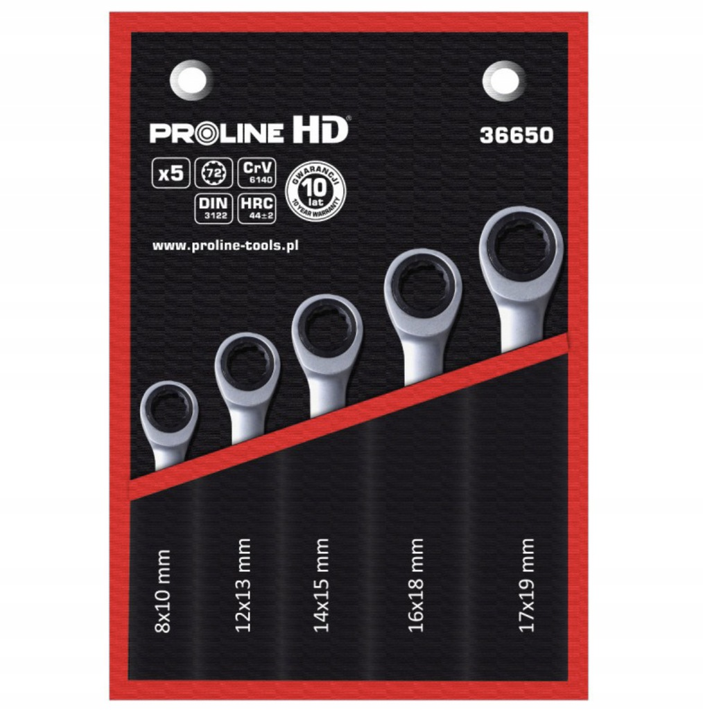 Klucze oczkowe z grzechotką 5sztuk 8-19mm Proline