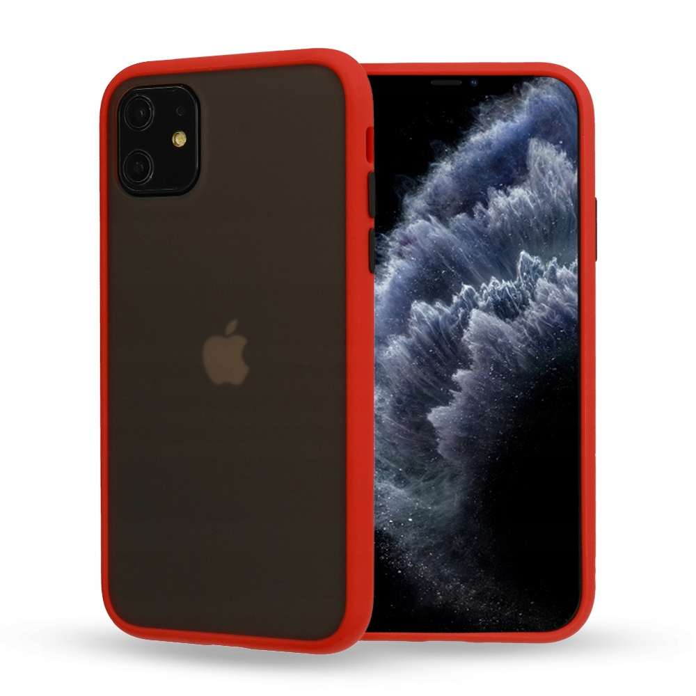 Matowe Etui Case IPHONE 12 Pro Max Czerwone Boki