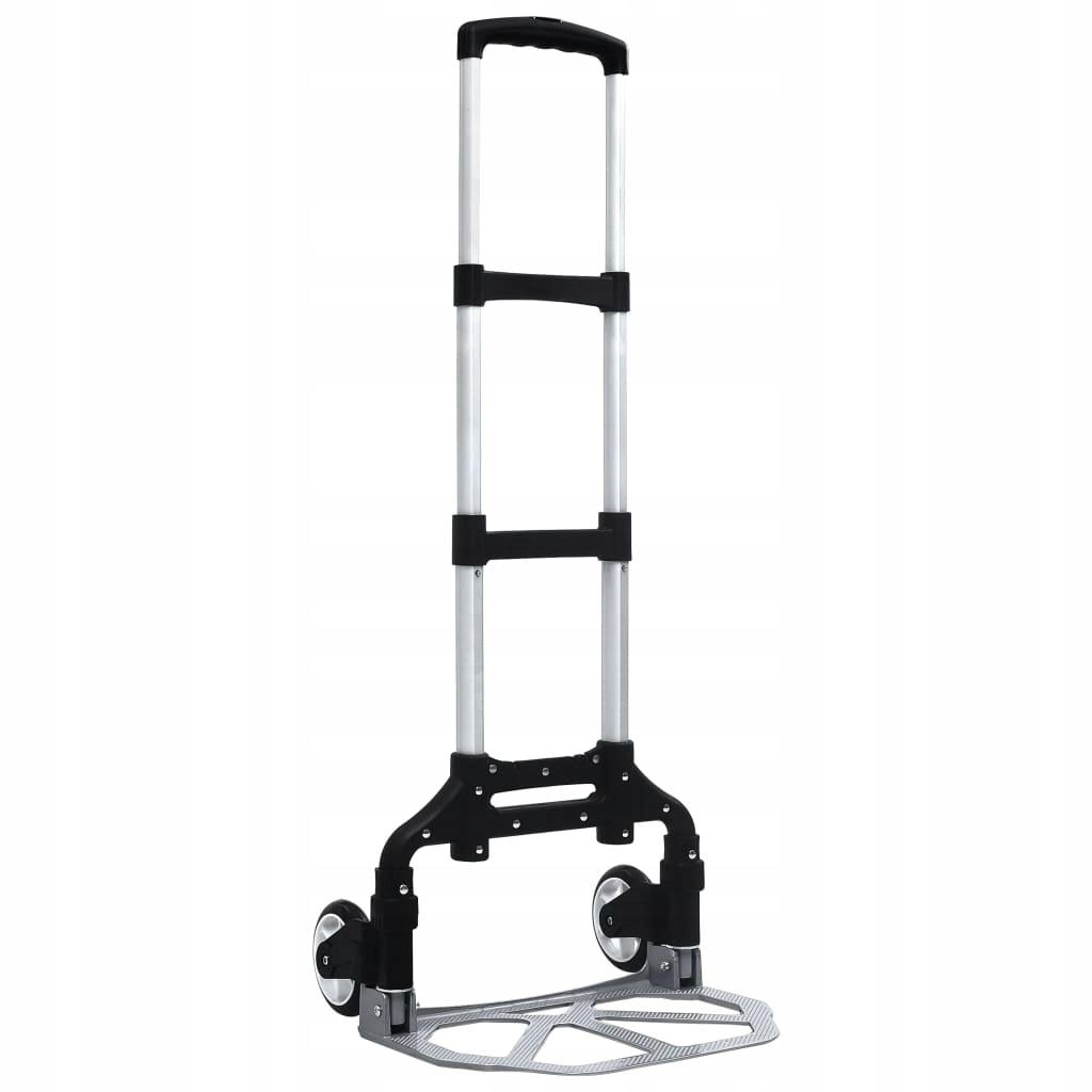 Składany wózek transportowy, 70 kg, aluminiowy, sr