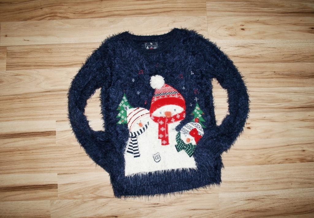 TU zimowy PUSZYSTY sweterek BAŁWANKI 140