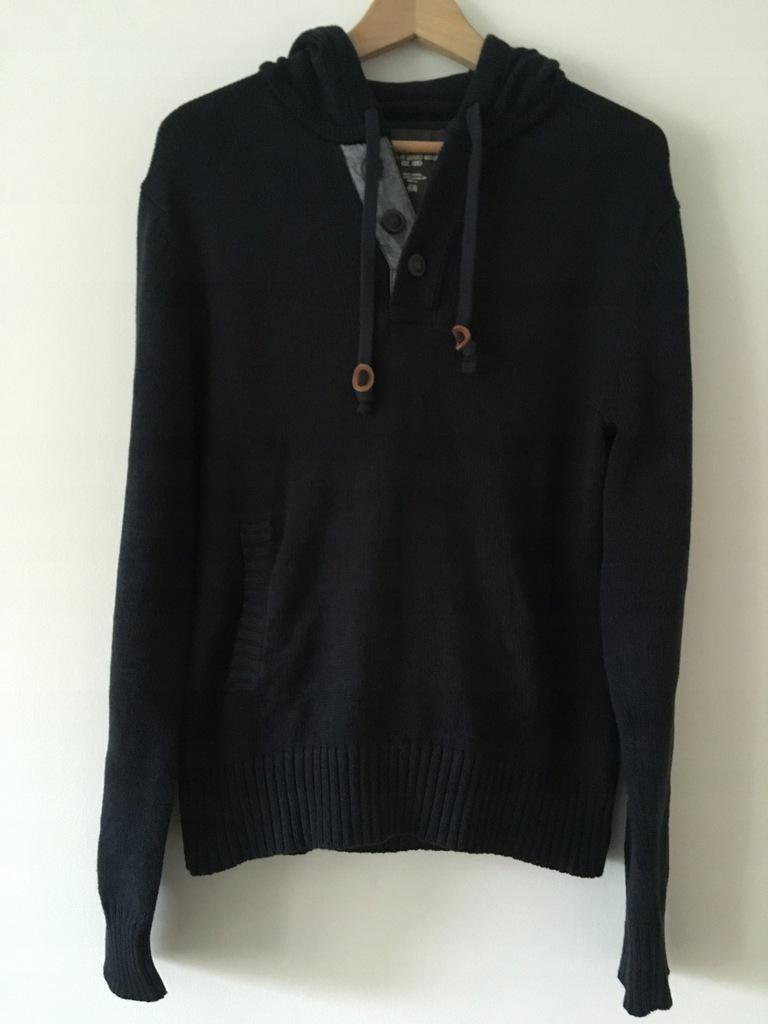 Sweter z kapturem męski H&M M granat ideał