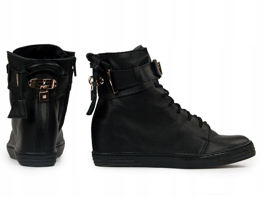 Czarne sneakersy Arzano – naturalna skóra włoska