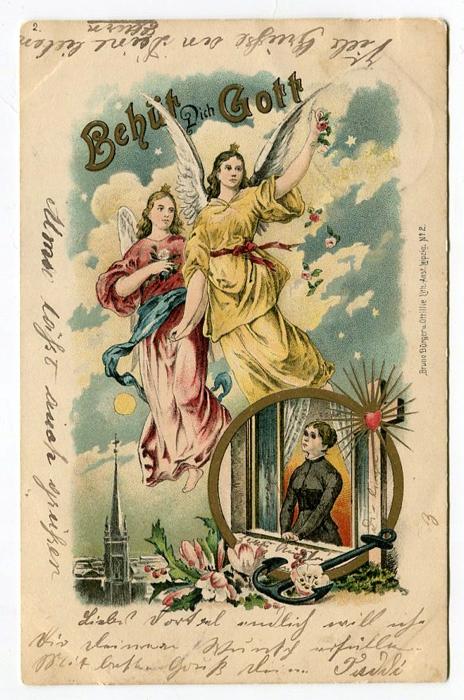 DWA BŁOGOSŁAWIĄCE ANIOŁY NAD MIASTEM - 1899