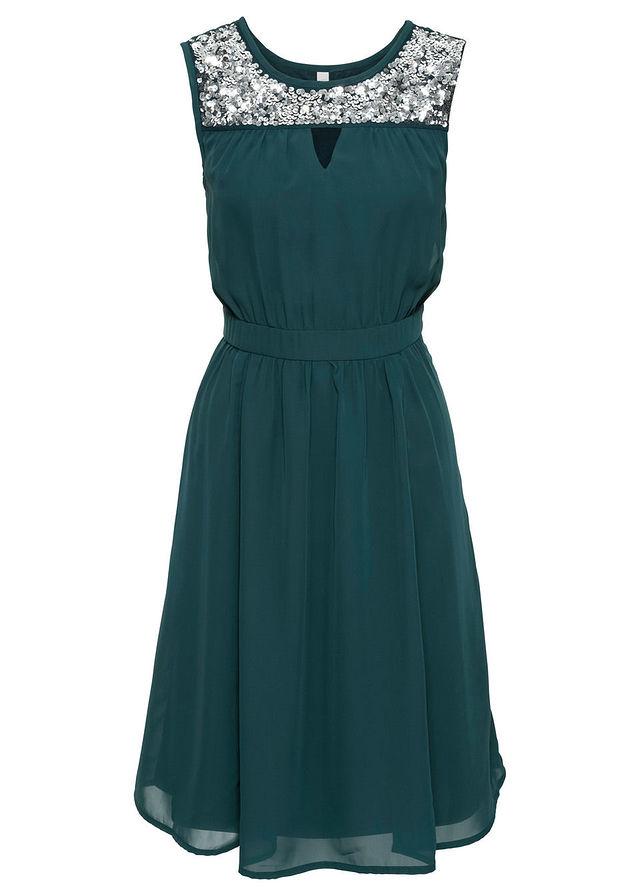 B.P.C Sukienka z cekinami zielona 40.
