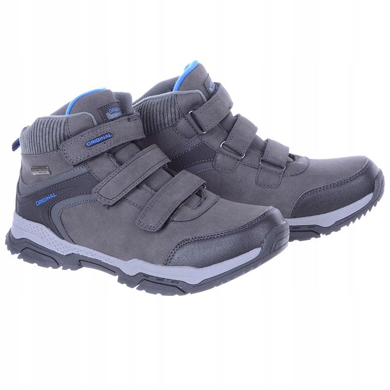 Buty Sportowe Dziecięce zimowe na rzep szare 39