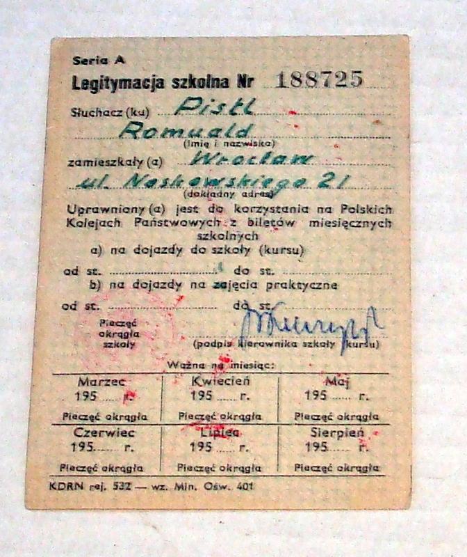 Szkoła Inżynierska Wrocław Legitymacja - R.Pistl .